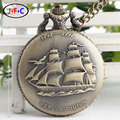 Free shipping Vintage bronze sailing large quartz pocket watch   DS008