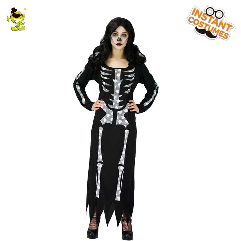 Halloween Women Black Skeleton Costumes Adult Masquerade Party Sexy Long Dress with Bone Features Women Pretty Skull Printed