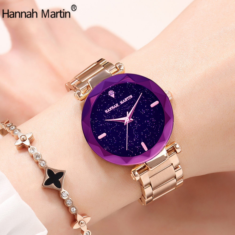 HM Luxury Rose Gold Women Watches,Fashion Minimalism Stainless Steel Band,Waterproof Ladies Quartz Wristatches relogio feminino