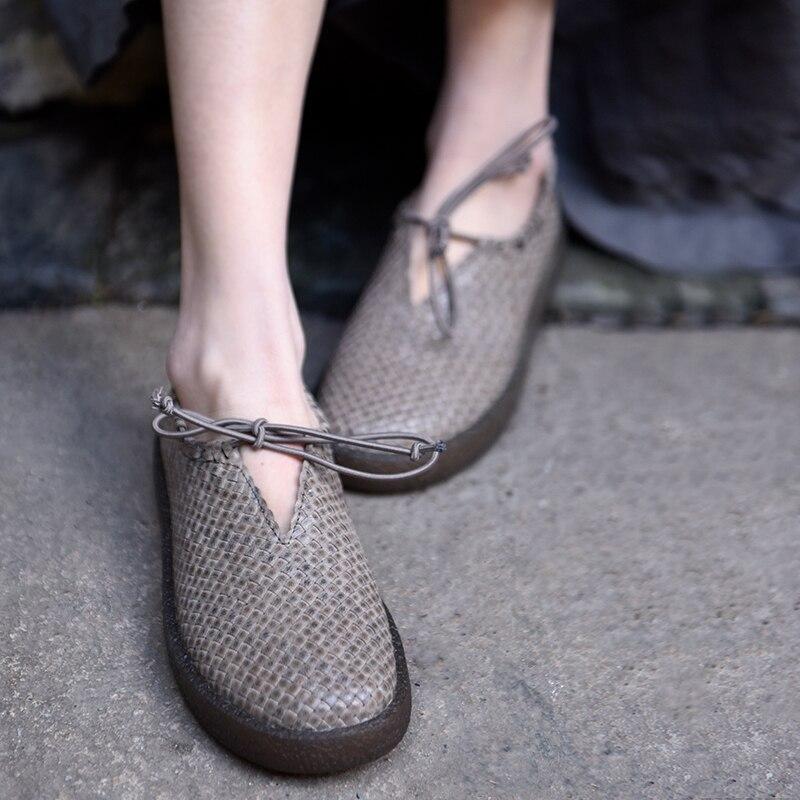 Cuir Semelles Vintage Main Sapatos Artmu Mocasin Doux Lacets Marron En D'origine Pour Faites Cadeau Mujer Tissé Chaussures Femmes Nouvelle gris Appartements À ttUCxqwv8