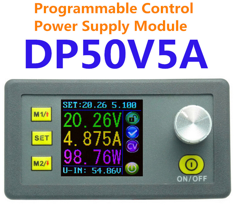 DP50V5A voltmeter color LCD Display Constant Voltage current Step-down Programmable DC Power module buck converter ammeter diy kit dc dc adjustable step down regulated power supply module belt voltmeter ammeter dual display
