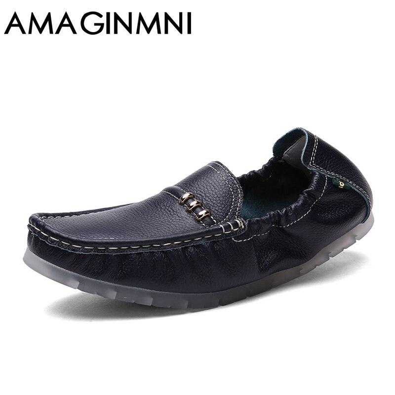 AMAGINMNI Genuine Cow leather Mens Loafers 2017 Fashion Handmade Moccasins Leather Men Flats  Slip On Men's Boat Shoe Summer серверная материнская плата intel dbs1200spsr ret [dbs1200spsr 951870]
