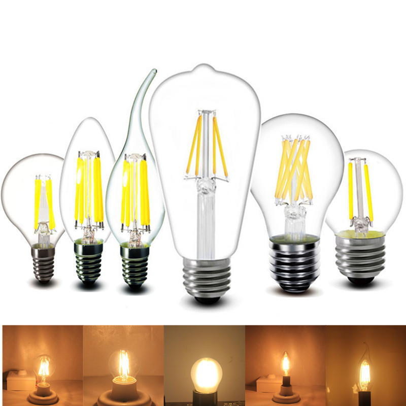E27 E14 2W 4W 6W 8W LED Lamp 220v Bubble Ball Bulb A60 C35 G45 ST64 T45 Candle Bulb Filament 230v 240v AC