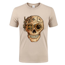 Horrible Hand painted steampunk cranium T shirt Men Skull designer creative Print swag T-shirt casual fitness top punk style tee