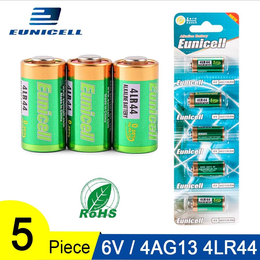 Pilhas alcalinas 5 peças, 1 cartão 6v 4ag13 bateria primária e seca 4lr44 a544v 4034px px28a l1325 544 4a76 para brinquedos calculadora