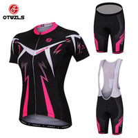 OTWZLS 2018 Pro Team Short Sleeve Women Cycling Jersey Set Bike Shorts SET MTB Ropa Ciclismo