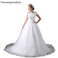 Forevergracedress Elegant Wedding Dress Gorgeous Off The Shoulder Zipper Back Long Beaded Bridal Gown Plus Size Custom Made