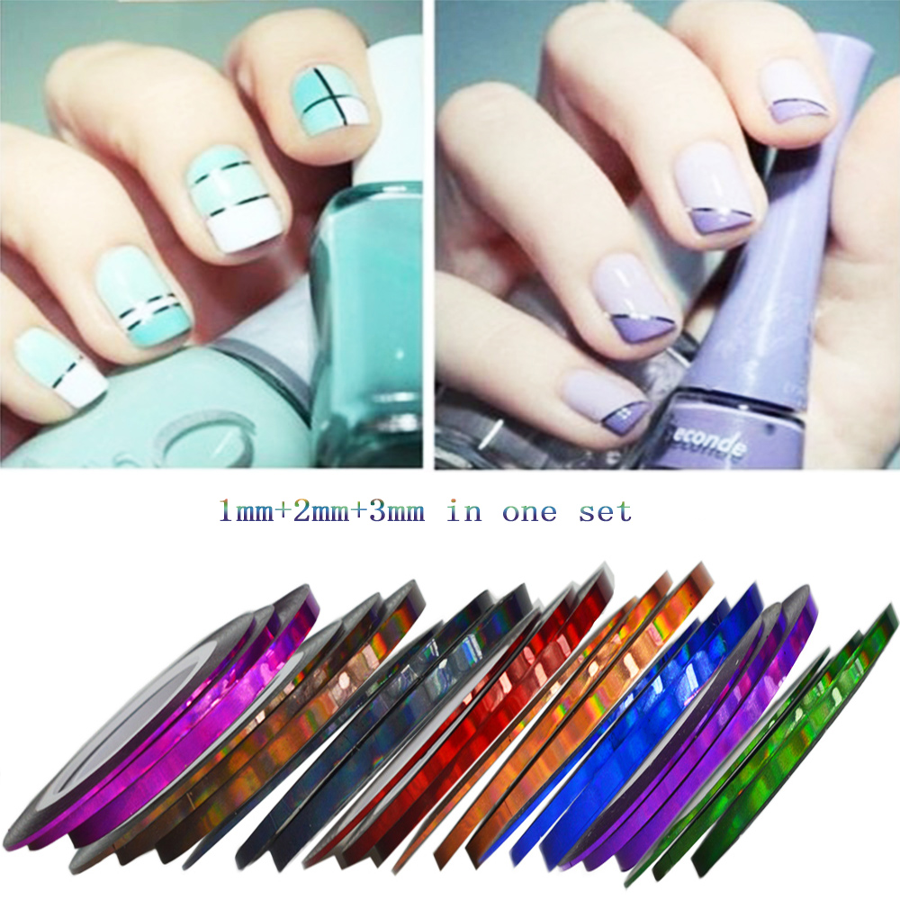 3 Teile/paket 3D Striping klebeband linie Nail art Decor Metallic ...