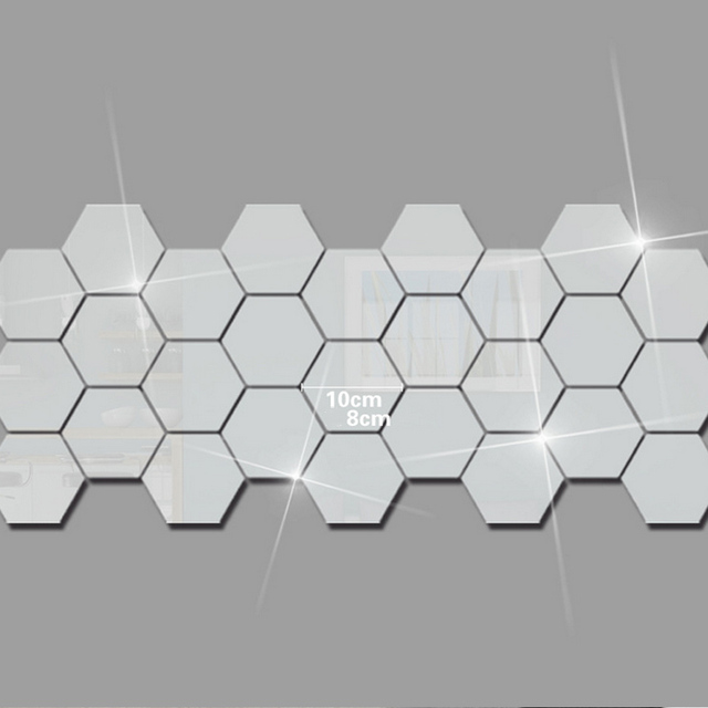 12Pcs Hexagon Acrylic Wall Stickers Mirror