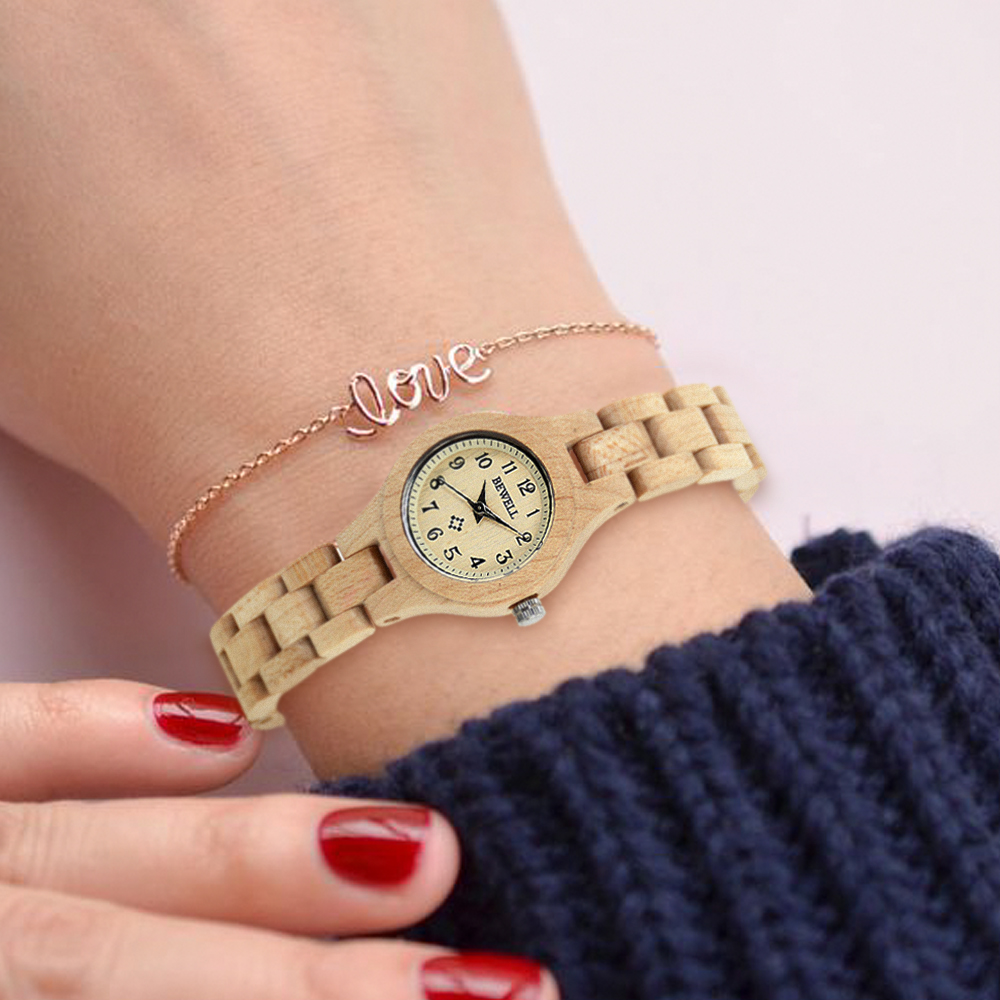 BEWELL 2019 Natural Wood Watch Women Round Case Slim Bracelet Lightweight Waterproof Vintage Watches for Girl Dropshipping 123A in Women 39 s Watches from Watches