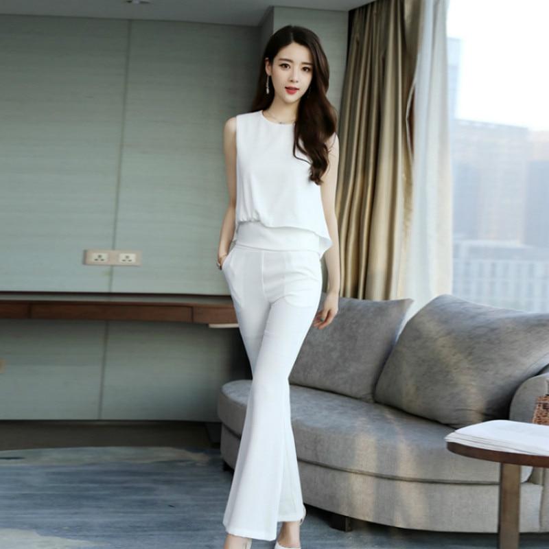 De D'été Dames Costume Gilet pièce Nouveau Évasée Mode Blanc Irrégulière Tempérament Style Ol noir Deux Harajuku Pantalon xARnBwHqx