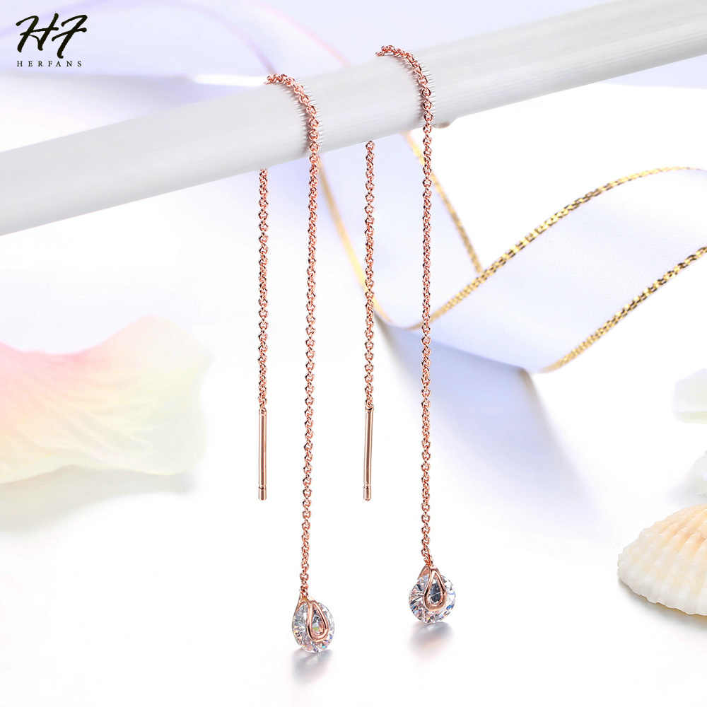New Unique Drop Line Long Earrings For Women Rose Gold Color 2 carat AAA+ Cubic Zircon Crystal Jewelry HotSale E549 E100