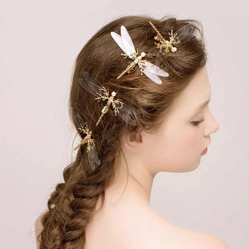 1 pcs Popular Golden Dragonfly Hairpins Bridal Headdress Wedding Hair Accessories Transparent Wings Dragonfly Hair Clip