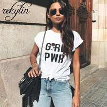 2019 Summer Women T Shirt Girl power Letter Print Tv T-shirt Casual Short Sleeve Tops