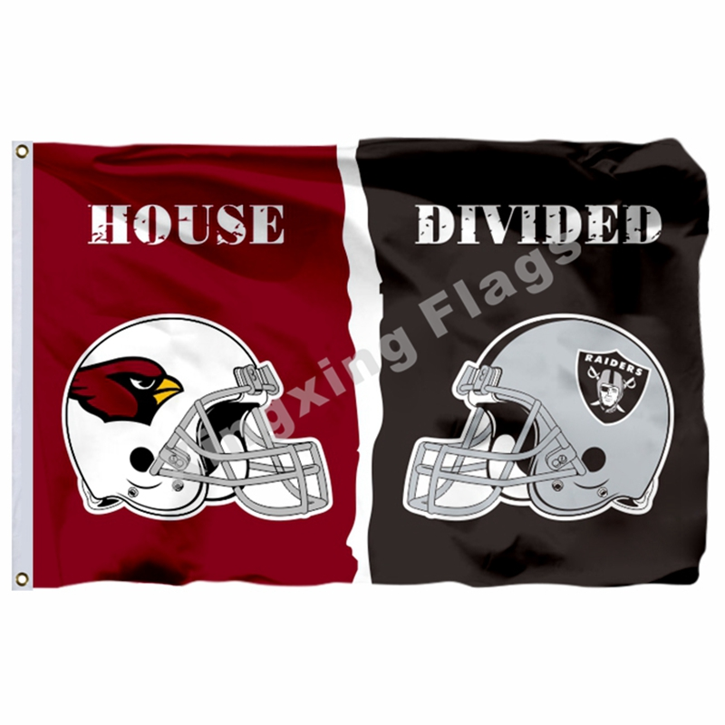 Arizona Cardinals Oakland Raiders helmets House Divided Flag 3ft x 5ft Polyester NFL Banner Size No.4 144*96cm Custom flag