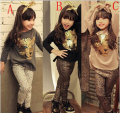 Retail 2016 New Girls Clothing Sets Baby Kids Clothes Children Clothing Full Sleeve T Shirt Leopard Legging birthday gift sets
