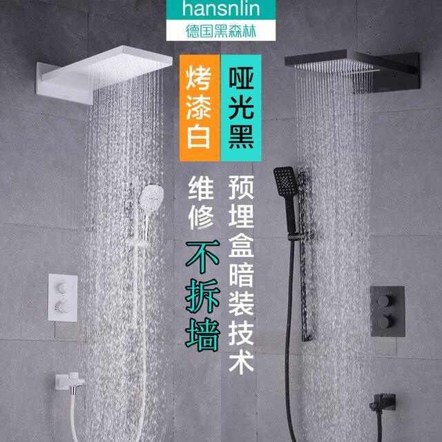 Bathroom Black Thermostatic Shower Faucet Rain Mixer Combo Set Wall Mounted Waterfall Rainfall Head