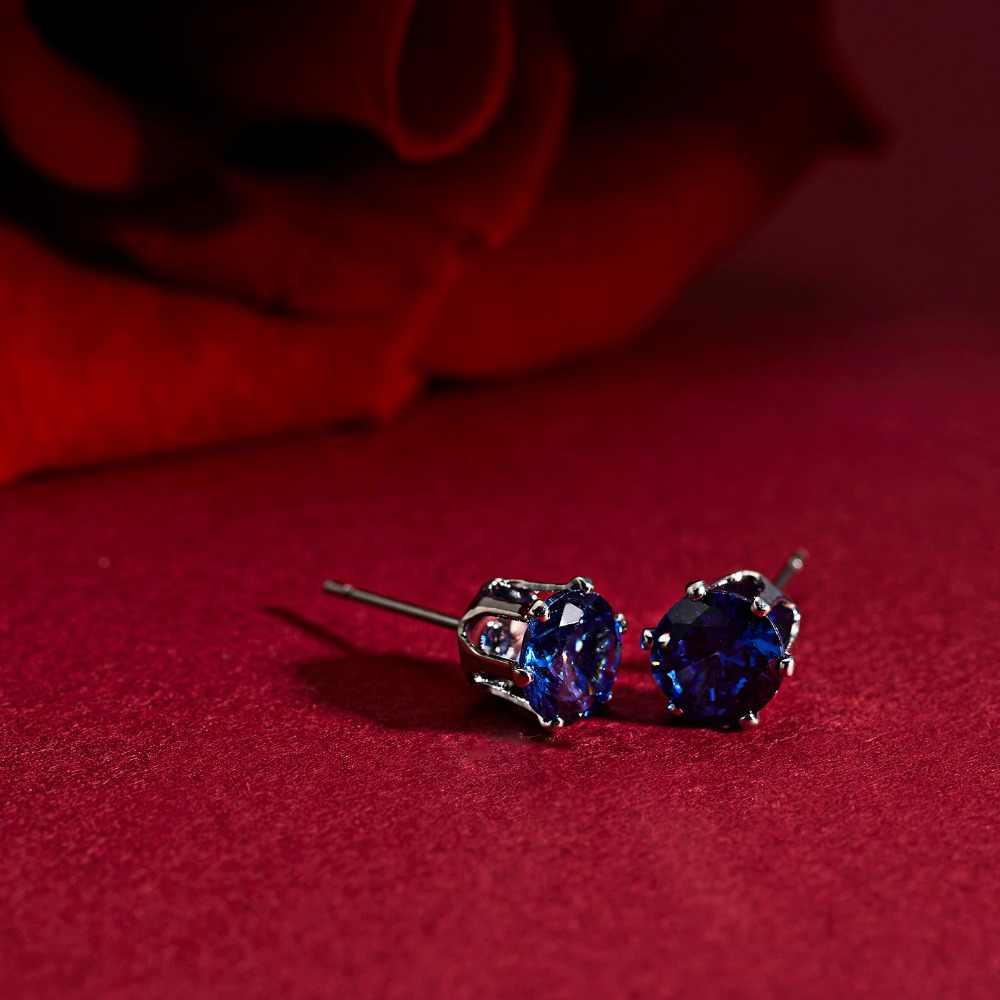 แฟชั่น 6 Prong สีฟ้า/สีม่วง/สีขาว AAA Zircon คริสตัลต่างหูผู้หญิงสีเงินสำหรับหญิงเครื่องประดับหู brincos 3-10 มม.