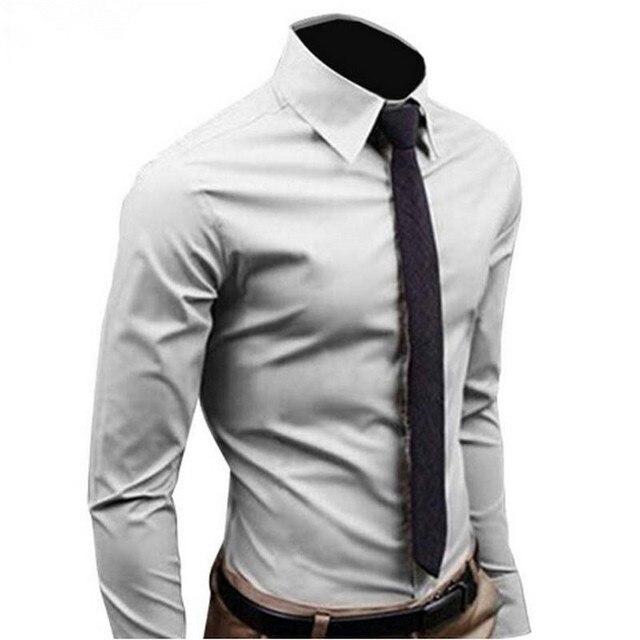 2018Men рубашка с длинным рукавом модные мужские Повседневное рубашки хлопок сплошной Цвет Бизнес Slim Fit социальные Camisas Masculina RD464
