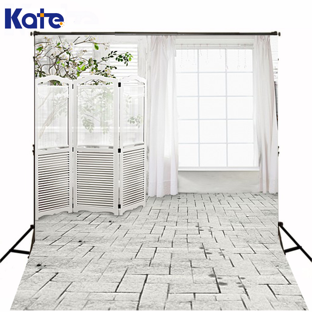 KATE White Indoor Wedding Background Curtain Wall Flowers Brick Floor Photography Backdrops Photocall for Fond Photo Studio wedding photo backdrops white flowers hanging lights computer printing background gray wall murals backgrounds for photo studio