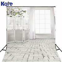 KATE White Indoor Wedding Background Curtain Wall Flowers Brick Floor Photography Backdrops Photocall for Fond Photo Studio