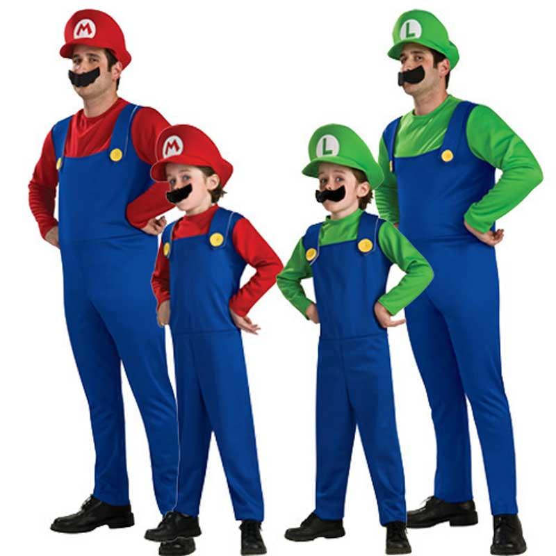 Adult Kids Super Mario Costume Children Cosplay Super Mario Luigi Brother Costume Halloween Party Cosplay Hats Beard Suit