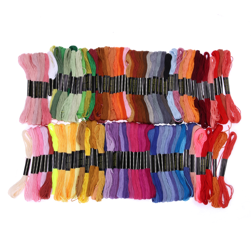 100 Colors Embroidery Thread Hand Cross Stitch Floss Sewing Skeins Cross Threads Polyester Threads Craft Sewing Accessories