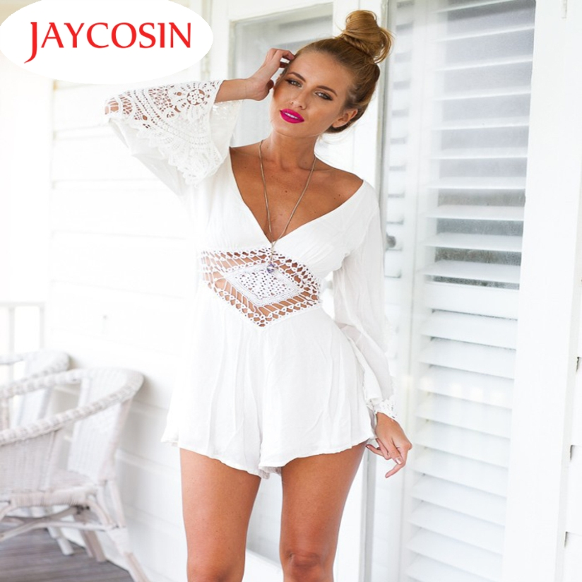 Hot Marketing New Women Sexy Long Sleeve White Lace V Neck Jumpsuits Rompers Short Pants Jul.1 Drop Shipping