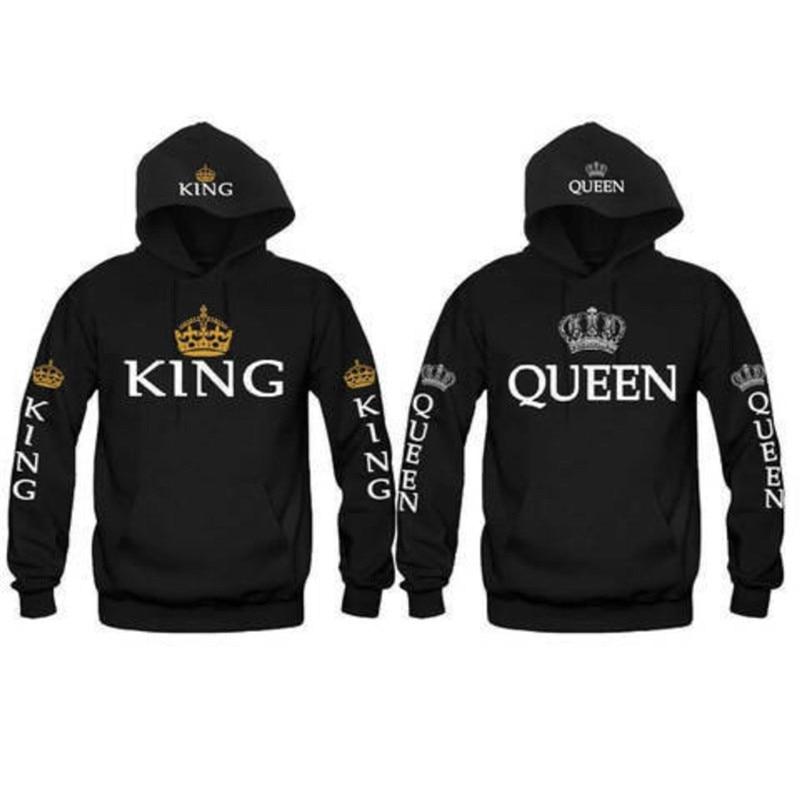 Navy-Navy,Men-S//Women-L Valentines Day Special King and Queen Couple Goal Hoodie Hooded Sweatshirt 2
