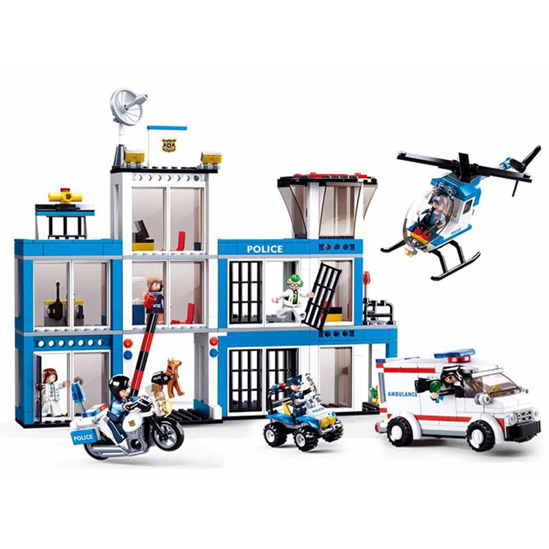 606pcs Children s educational building blocks toy Compatible city Police Department Helicopter Boy Military Series gift