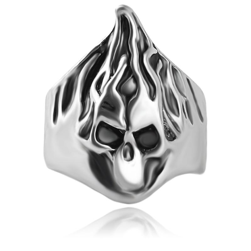 Rock Roll Silver Plated Gothic Flame Punk Hairstylist Skull Rotating Bikers Rings Mens Boys Skeleton Jewelry