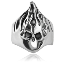 Rock Roll Silver Plated Gothic Flame Punk Hairstylist Skull Rotating Bikers Rings Mens & Boys Skeleton Jewelry Ring Size 8-11