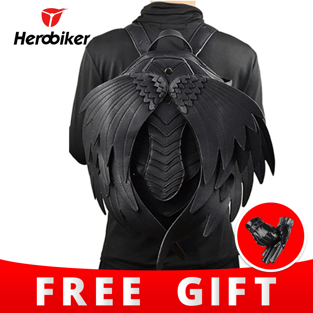 Motorcycle Backpack PU Leather Luggage Mochila Moto Fashion Motocross Bags Bolsa Moto Wings Multi function Travel Backpack