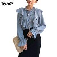 HziriP Moda Kadınlar Ruffled Bluzlar Tops 2018 Yeni Varış Bahar Sonbahar Fener Kollu Katı Giyim Bayanlar Gömlek 3 Renkler