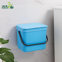 Plastic Wall Mounted Trash Can Portable Bedroom Kitchen Creative Open Top Waste Bin Living Room Toilet.hanging Garbage Container