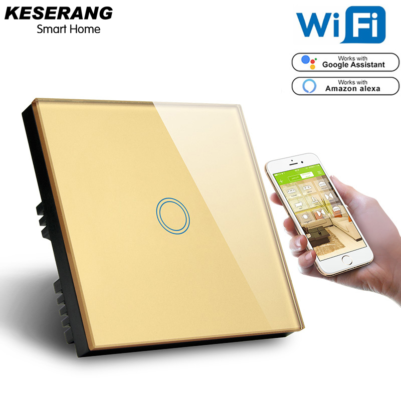 Image 2 - KESERANG,UK Standard 1gang Smart Wifi Switch 220V,Crystal Glass Panel Wifi Light Switch Smart Home Controller Works Google,Alexa-in Smart Remote Control from Consumer Electronics