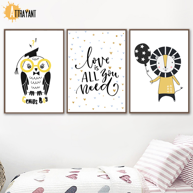 Owl Quotes Lion Wall Art Canvas Painting Nordic Posters And Prints Wall Pictures For Kids Bedroom Baby Boy Girl Room Home Decor In Painting