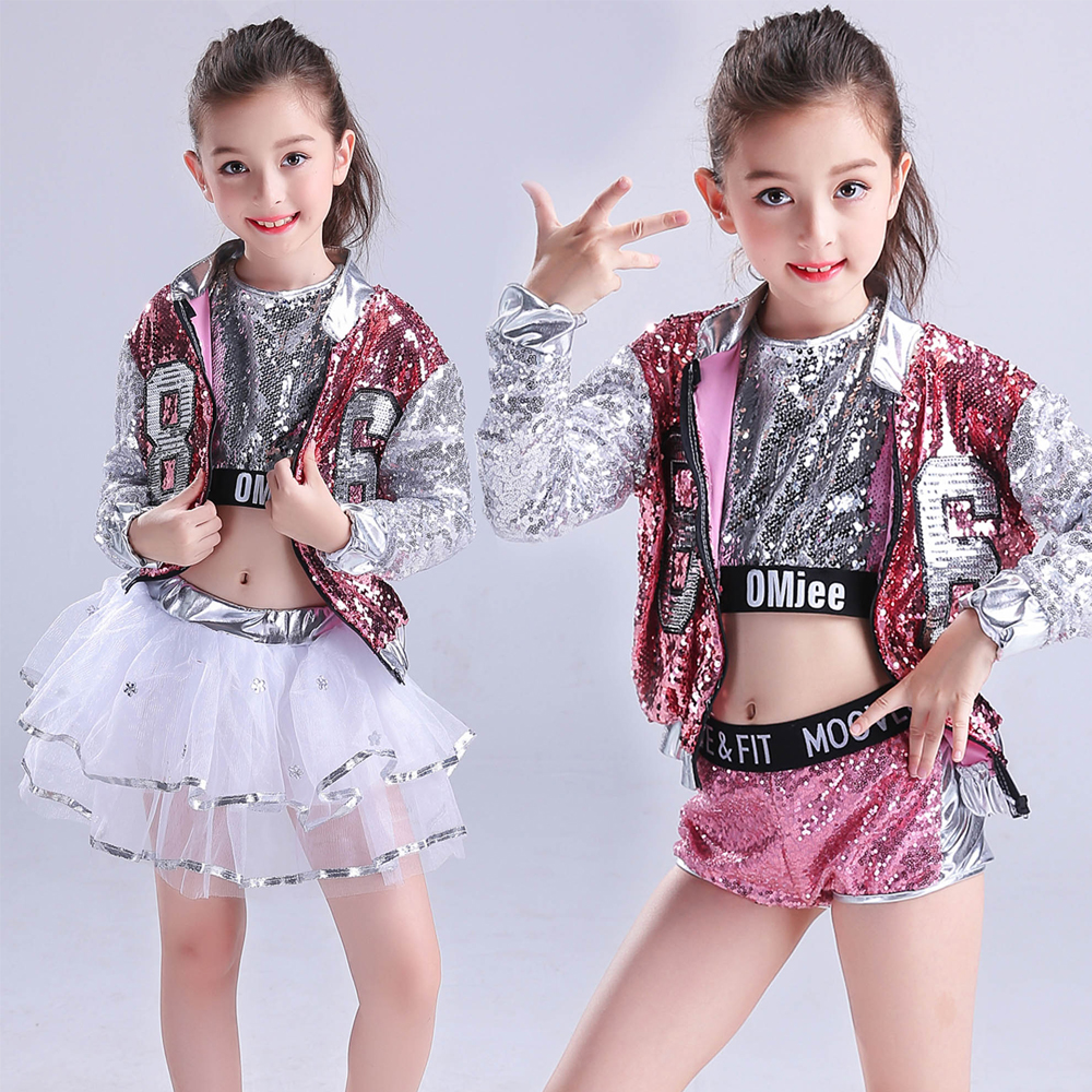 Filles paillettes salle de bal Jazz Hip Hop danse Costumes enfant adulte Performance moderne fête spectacle pantalon danse porter ensemble tenues