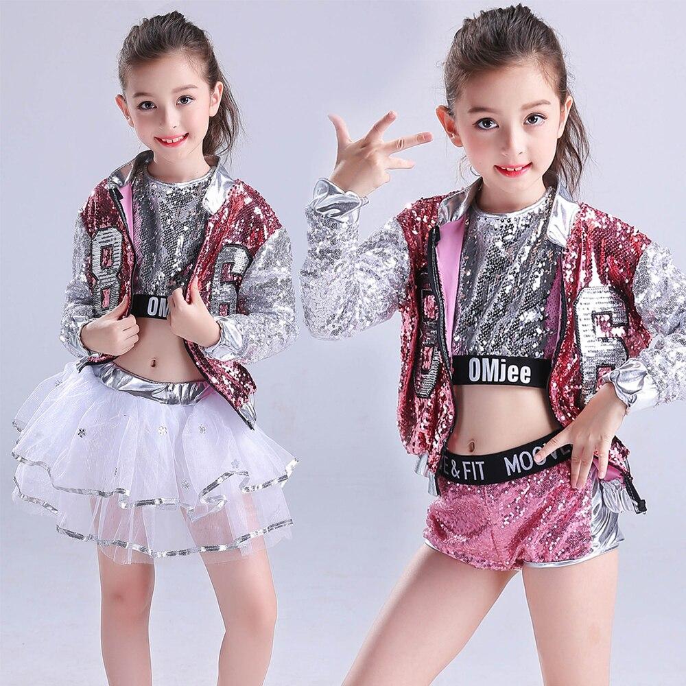 Filles paillettes salle de bal Jazz Hip Hop danse Costumes enfant adulte Performance moderne fête spectacle pantalon danse porter ensemble tenues