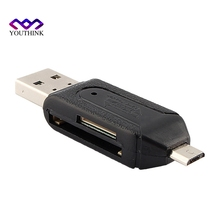 2 in 1 USB OTG Card Reader Micro USB OTG TF/SD Card Reader Phone Extension Headers Flash Drive Adapter For Smartphone Computer