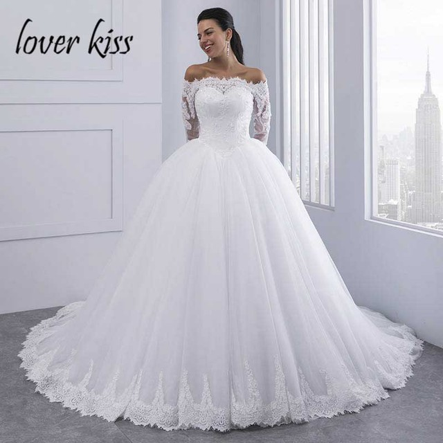 Lace Wedding Dress With Sleeves.Us 105 45 43 Off Lover Kiss Vestidos De Noiva Ball Gown Lace Wedding Dress Long Sleeves Off Shoulder Tulle Puffy Bride Gowns Casamento Mariage In