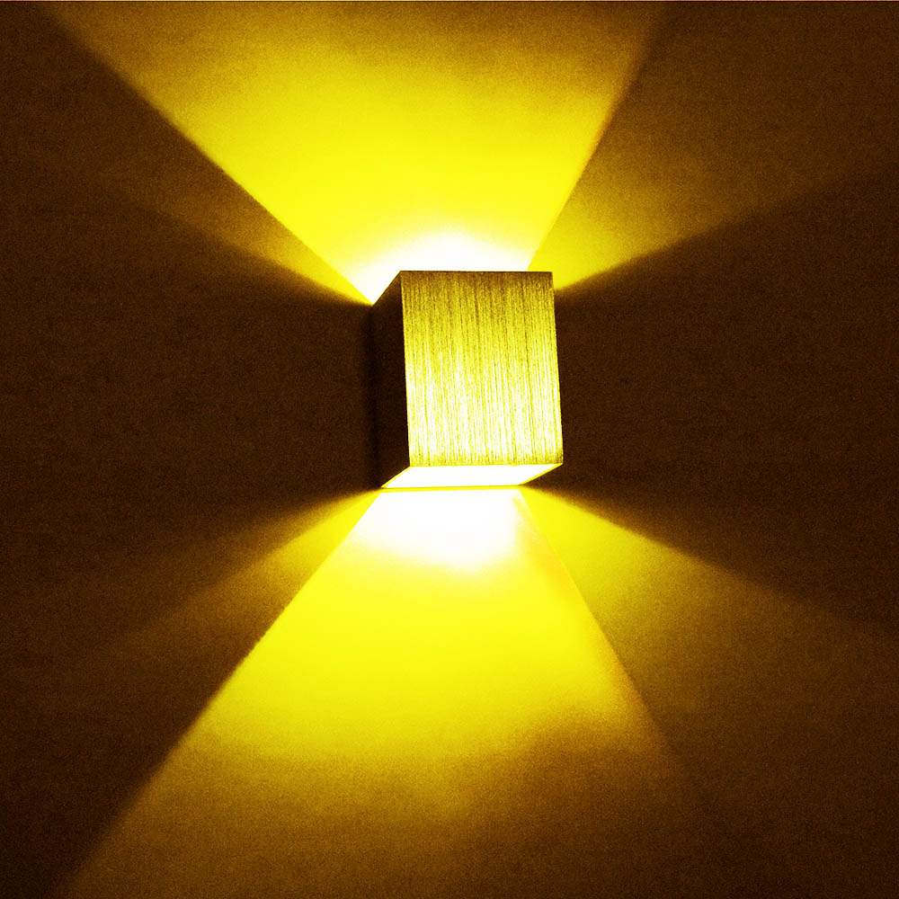 LED Wall Lamp 3W Modern Aluminum AC85-265V Square Wall Lamp For decoration corridor Bedroom KTV Background Light DA