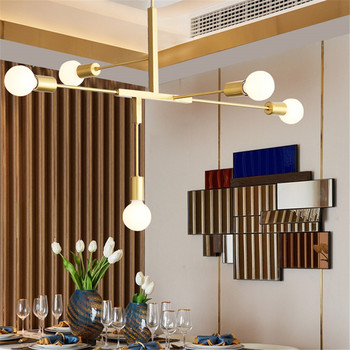 Aro Deco chandelier LED indoor lamp iron gold metal bar coffee shop modern dining ceiling decoretion lighting fixture AC110-265V