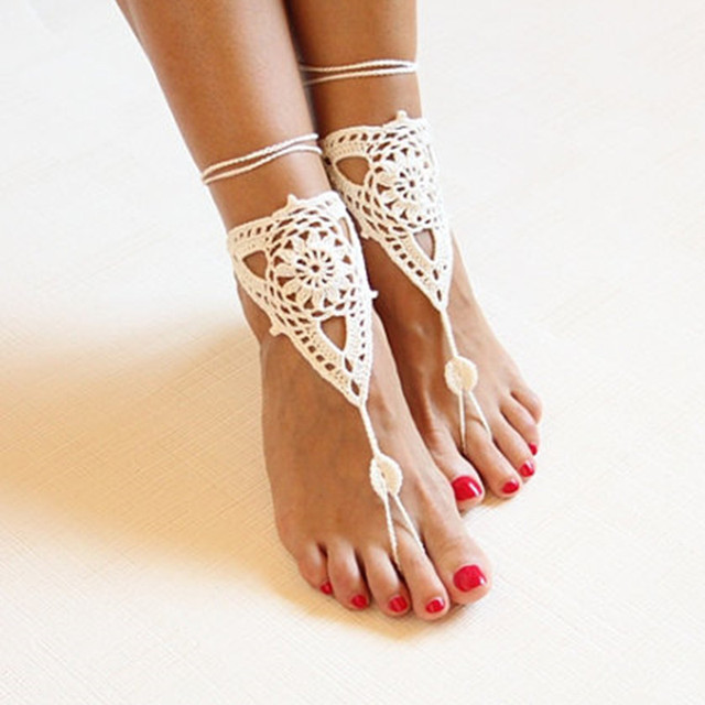 Beach wedding ivory crochet wedding barefoot SandalsNude shoes