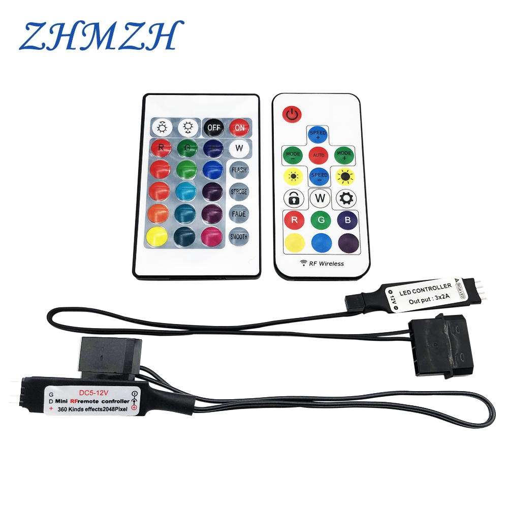 RGB RF Controller Molex 4pin Power Supply For Computer Case LED Lighting 3Pin 5V Or 4Pin 12V D-RGB Splitter Interface SYNC Hub