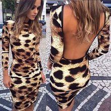 Selljimshop Fashion Women Sexy Leopard Backless Dresses The Halter Dress Clothes
