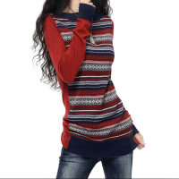 Womens Vintage Long Contrast Color Knitted Cashmere Wool Sweaters And Pullovers Ladies Spring Autumn Slim Warm