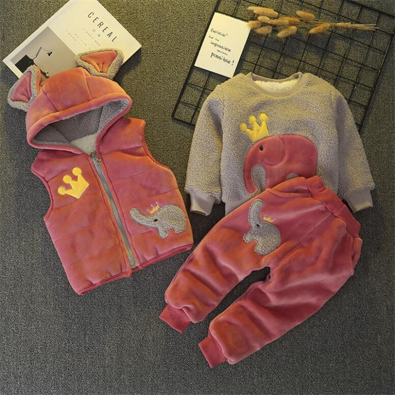 все цены на BibiCola children clothing set winter plue velvet 3pcs vest+top+pants suit clothing boys girls thicken warm hoodie clothing sets