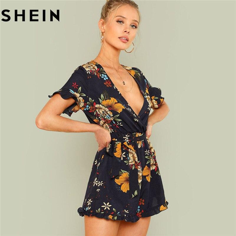 SHEIN verano playa Boho imprimir Deep V cuello Mediados de cintura Playsuits mujeres Flounce manga lazo cintura Frill Trim Floral con cinturón mamelucos