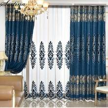 Living Room Window Luxury Blue Curtains Ready Bedroom Door Blackout Roman European embroidery Curtain Tulle Chenille Drapes